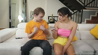 Cute brunette Liv Wild gets to suck some nerd's cock at home