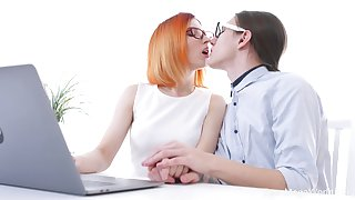 Red haired chick in glasses Elin Holm is fucked by nerd college mate