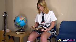 Whorish blond student in short kilt skirt Jessica shows off puffy snatch