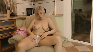 Horny russian granny with big saggy tits - solo