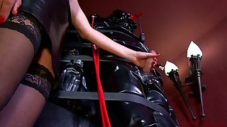 Lady Patricia and kinky mistress punish tied up dude with endless handjob