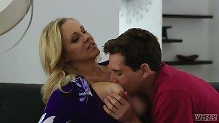 Appetizing buxom blonde MILF Julia Ann rides cock of her ex hubby