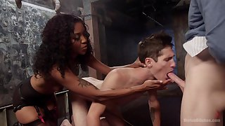 Bisexual threesome sex with amazing ebony princess Lotus Lain