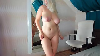 Blonde girlfriend loves dancing and playning around