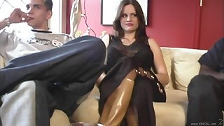 Busty brunette slut in stockings Dp-ed in interracial Mmf threesome