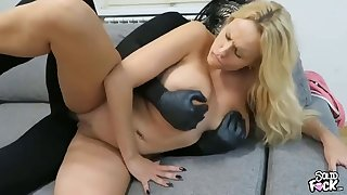 Bodacious blonde milf has a masked stud hammering her pussy