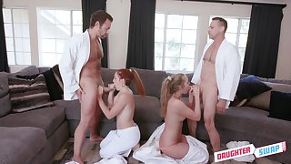 These babes swap their partner in a perfect foursome