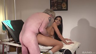 Older dude got lucky and banger a hot brunette Angela Allison