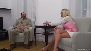 Mature blonde wife with fake tits rides a fat dick - Krisztina Szigeti