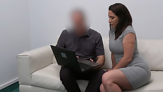 Spanish babe rides agent's cock