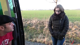 Dude icks up and fucks nerdy chick in glasses Sasha in the back seat