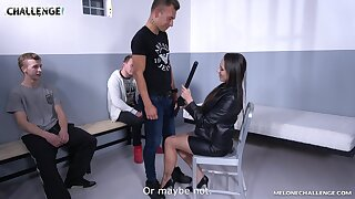Super sexy Czech cop Mea Melone is fucking three amateur guys