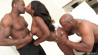 Addictive scenes of black threesome on a tight ebony ass
