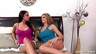 Lesbian threesome with a strapon and a vibrator - Celeste Star