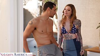Tattooed babe Penny Archer is face fucked by hot blooded lover