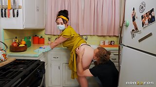 Masked mature wive receives younger cock in her ass