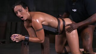 Two guys relentlessly pounding tied up Wenona who's loving it