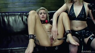 Oiled slave girl gets her pussy poked - Marina Angel & Ally Breelsen