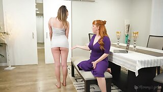 Hot stepmom takes advantage of her stepdaughter and she loves being eaten out