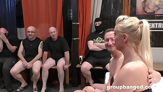 Premium blonde in flaming gangbang special