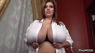 Incredibly busty babe showing off - monster tits