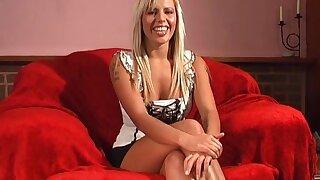 Blonde girl Scarlett March takes off her panties to masturbate