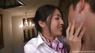 Naughty Asian angel Saionji Reo gets a bedraggled facial grand finale
