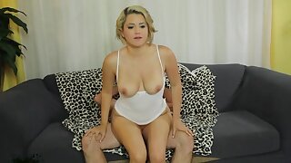 Passionate fucking on the sofa with frying blondie Alix Lovell