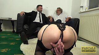 Gagged wife gets the big dick near scenes of BDSM cuckold