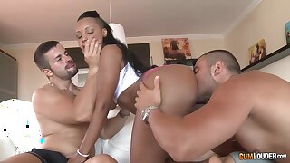 Ebony girl with captivating ass Noe Milk gets double penetrated