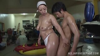 Oiled Japanese cutie Ryoko Murakami rides a dick on hammer away confound