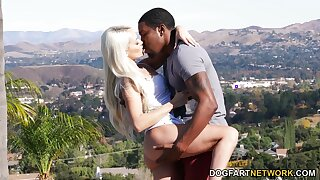 Lovely blondie Elsa Jean gets a mouthful of cum after crazy sex with black boyfriend