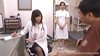 Natural boobs Japanese doctor gives a blowjob increased by gets fucked hard