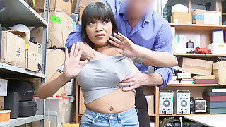 Guard flourish and squelch huge-chested Latina after misusing